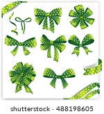 set of green gift bows with... | Shutterstock .eps vector #488198605