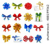 set of gift bows with ribbons.... | Shutterstock .eps vector #488199562
