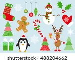 merry  christmas set of... | Shutterstock .eps vector #488204662