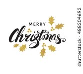 merry christmas card with  hand ... | Shutterstock .eps vector #488204692