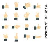 flat hand icons set. universal...