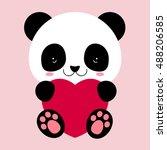 cute panda holds big heart....   Shutterstock .eps vector #488206585