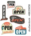 worn out open store signs also... | Shutterstock .eps vector #48820858
