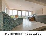 hot stone and massage bath tub... | Shutterstock . vector #488211586