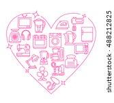 appliances frame heart vector... | Shutterstock .eps vector #488212825