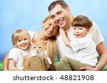 portrait of affectionate family ...   Shutterstock . vector #48821908