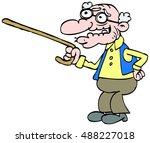 old man with a walking stick | Shutterstock .eps vector #488227018