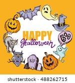 halloween hand drawn characters ... | Shutterstock .eps vector #488262715