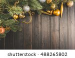 christmas wooden background... | Shutterstock . vector #488265802