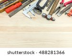 various old hand tools... | Shutterstock . vector #488281366