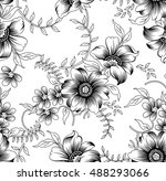 seamless black and white floral ... | Shutterstock .eps vector #488293066