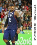 Small photo of RIO DE JANEIRO, BRAZIL - AUGUST 10, 2016: Olympic champion Carmelo Anthony of Team USA in action at group A basketball match between Team USA and Australia of the Rio 2016 Olympic Games
