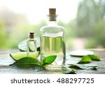 bottles with mint oil  lime and ... | Shutterstock . vector #488297725