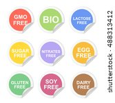 food dietary labels icon set.... | Shutterstock . vector #488313412