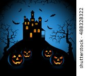 halloween blue night with... | Shutterstock .eps vector #488328322