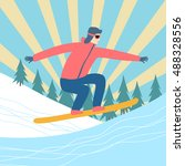 cartoon flying snowboarder on... | Shutterstock .eps vector #488328556