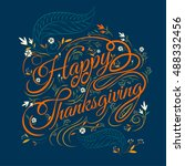 happy thanksgiving  autumn ... | Shutterstock .eps vector #488332456