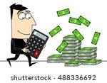businessman with calculator ...   Shutterstock . vector #488336692