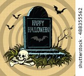 happy halloween grave tombstone ... | Shutterstock .eps vector #488355562