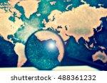 magnifying lens on books... | Shutterstock . vector #488361232