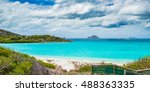 beautiful blue lagoon on lizard ... | Shutterstock . vector #488363335