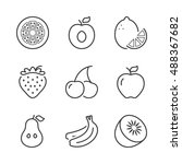 basic fruits thin line icons... | Shutterstock .eps vector #488367682