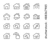 real estate house icons set ... | Shutterstock .eps vector #488367985