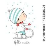 winter boy on sled. funny... | Shutterstock .eps vector #488368105