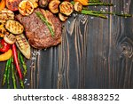 roasted organic shin of beef... | Shutterstock . vector #488383252