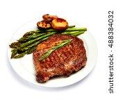 roasted organic shin of beef... | Shutterstock . vector #488384032