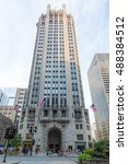 Small photo of Chicago, USA - August 14, 2015: Chicago's famous Tribune Tower on Michigan Ave on a hot summer's day