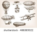 vintage aircrafts transport...   Shutterstock .eps vector #488385022