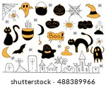 scary objects doodle  helloween ... | Shutterstock .eps vector #488389966