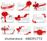 set of beautiful cards with red ...