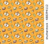 seamless pattern with different ... | Shutterstock .eps vector #488394112