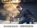 handsome hipster enjoying a... | Shutterstock . vector #488402836