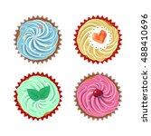 set of vector cupcakes. top... | Shutterstock .eps vector #488410696