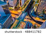 top view city road intersection ... | Shutterstock . vector #488411782