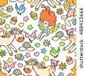 children pattern  unicorn ... | Shutterstock .eps vector #488413666
