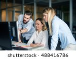 team of colleagues working... | Shutterstock . vector #488416786