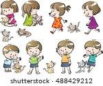 children and pet set | Shutterstock .eps vector #488429212