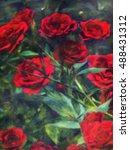 Oil Painting Red Rose   Photo...