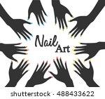 nail art. round frame | Shutterstock .eps vector #488433622