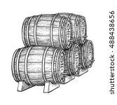 wine or beer barrels isolated... | Shutterstock .eps vector #488438656