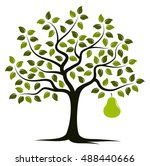 vector pear tree with one big... | Shutterstock .eps vector #488440666