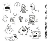set of doodle monsters icons in