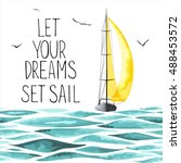 Sailboat with yellow sail in the sea and seagulls around. Objects made in the vector and isolated on white background. Watercolor imitation. Sport yacht, sailboat. - stock vector