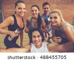 beautiful sports team are... | Shutterstock . vector #488455705