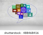 user interface on wall... | Shutterstock . vector #488468416