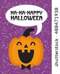 fun halloween card design.... | Shutterstock .eps vector #488471938